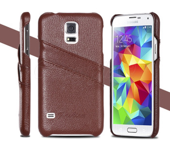 Samsung Galaxy S5/S5 NEO Leather Back Cover Brown