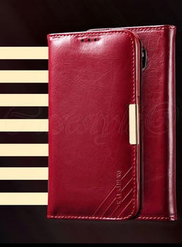 Samsung Galaxy S6 Premium Leather Wallet Cover Red