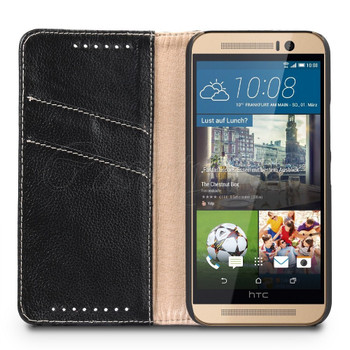 HTC One M9 Genuine Leather Wallet Case Black