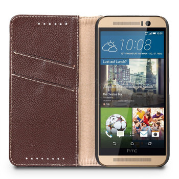 HTC One M9 Genuine Leather Wallet Case Brown