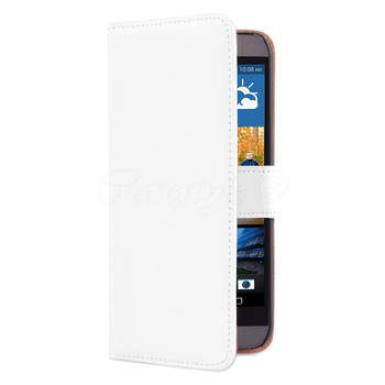 HTC One M9 Leather Wallet Cover White