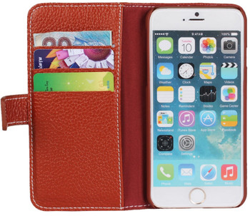 iPhone 6 6S Real Leather Wallet Card Case Brown