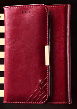 HTC One M9 Premium Leather Wallet Case Red