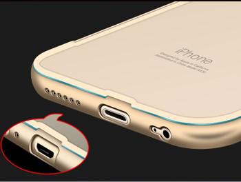 iPhone 6 6S Metal Bumper Case Gold+Clear Back