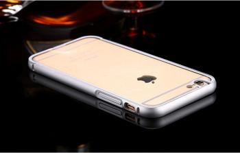 iPhone 6 6S Metal Bumper Case Silver+Clear Back