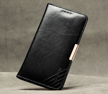Samsung S6 EDGE Premium Leather Wallet Case Black