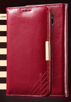 Samsung S6 EDGE Premium Leather Wallet Case Red