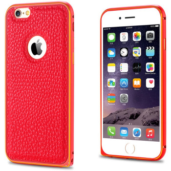 iPhone 6 Metal Case Leather Back