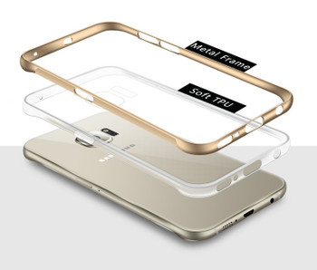 Samsung Galaxy S6 Edge Clear Case+Aluminum Bumper Gold