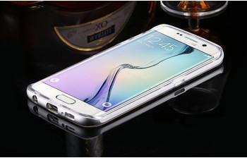 Samsung Galaxy S6 Edge Clear Case+Aluminum Bumper Silver