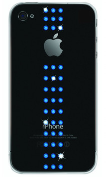 iPhone 4S Bling Stripes Case Capri Blue