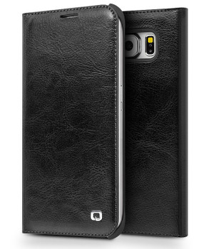 Qialino Samsung S6 EDGE Luxury Leather Wallet Case Black