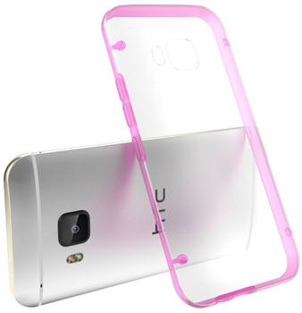 HTC One M9 Pink Bumper Clear Back