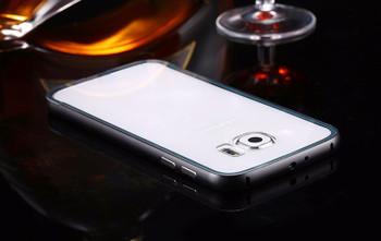 Samsung S6 Metal Bumper Case Black+Clear Back