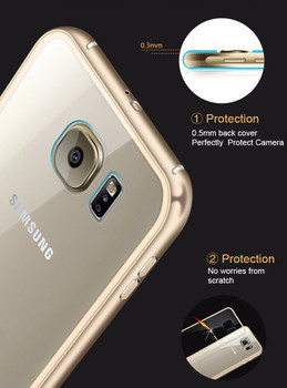 Samsung S6 Metal Bumper Case Gold+Clear Back