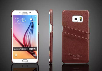Samsung S6 Edge+Plus Genuine Leather Back Cover Brown
