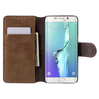 Samsung Galaxy S6 Edge+Plus Leather Wallet Folio Case Brown