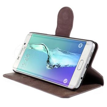 Samsung Galaxy S6 Edge+Plus Leather Wallet Folio Case Coffee