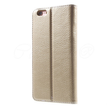 iPhone 6S+6 PLUS Genuine Leather Booklet Cover Gold