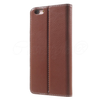 iPhone 6S+6 PLUS Genuine Leather Booklet Cover Brown