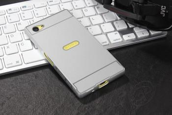 Sony Z5 Compact Metal Bumper Case Hard Back Silver