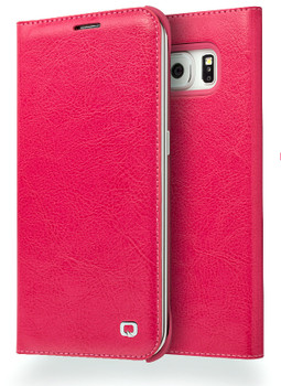 Qialino Samsung S6 EDGE Luxury Leather Wallet Case Pink