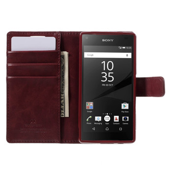 Sony Xperia Z5 Compact Wallet Case Wine Red