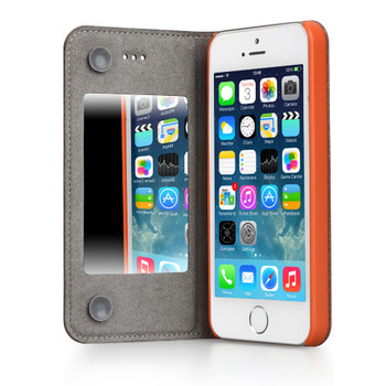 iPhone SE Leather Mirror Case Orange