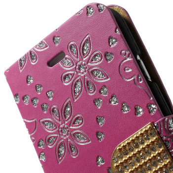 iPhone SE Glitter Wallet Case Pink