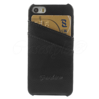 iPhone SE Genuine Leather Back Cover Black