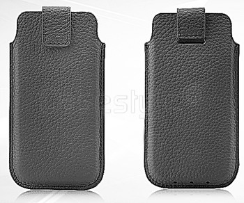 iPhone SE Real Leather Pouch Black