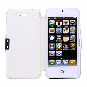 iPhone SE Leather Wallet Magnet Case White
