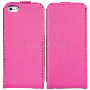 iPhone SE Leather Flip Case Pink