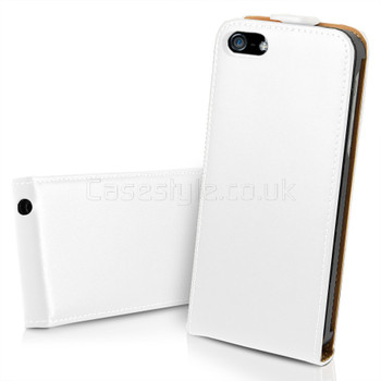 iPhone SE Leather Flip Case White