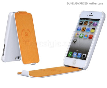 Hoco Duke iPhone SE Genuine Leather Flip Case White