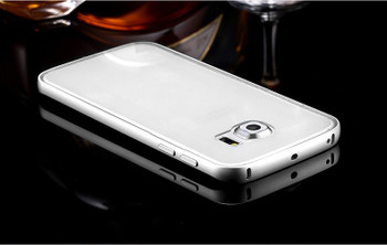 Samsung Galaxy S7 EDGE Metal Bumper Case Silver+Clear Back