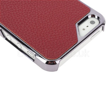 iPhone SE Case Red Leather Back