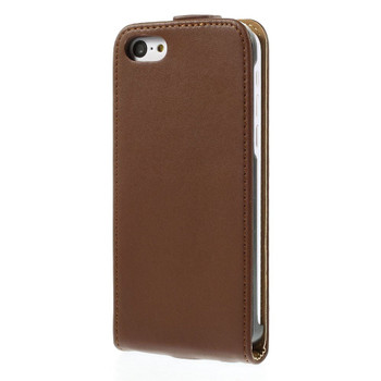 iPhone 5C Leather Flip Case Brown