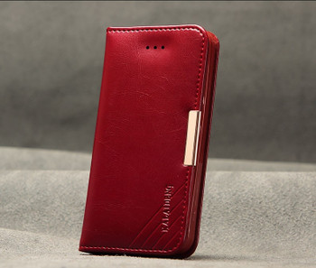 iPhone SE Premium Leather Wallet Case Red