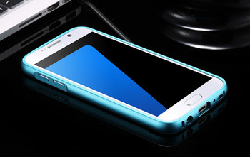 Samsung Galaxy S7 Metal Bumper Case Blue+Clear Back