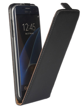 Samsung Galaxy S7 EDGE Leather Flip Case Black