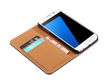 Samsung Galaxy S7 EDGE Leather Wallet Cover Chocolate