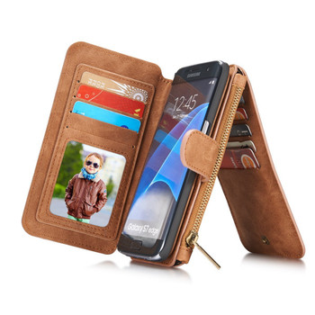 Samsung Galaxy S7 EDGE Leather Wallet Case Brown-14 Card Slots