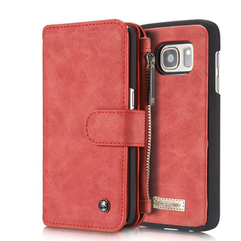 Samsung Galaxy S7 EDGE Leather Wallet Case Red-14 Card Slots