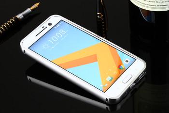 HTC 10 Aluminum Metal Bumper Case+Back Cover Silver