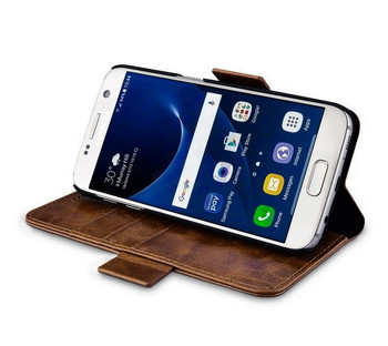 iCarer Samsung Galaxy S7 Real Leather 2 In 1 Folio Case Coffee