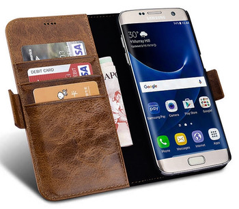 iCarer Samsung Galaxy S7 EDGE Vintage Leather Wallet Folio Case Coffee