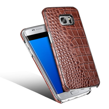 Samsung Galaxy S7 EDGE Real Leather Crocodile Luxury Case Brown