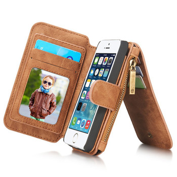 iPhone SE Leather Wallet Case Brown-8 Card Slots