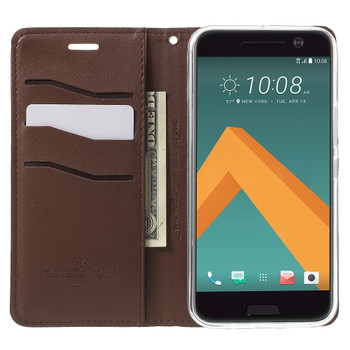 HTC 10 Wallet Flip Cover Case Chocolate Brown